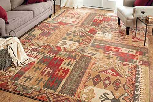 Mohawk Home Madison Louis And Clark Southwest Patchwork Woven Rug, 5 3×7 10, Brown