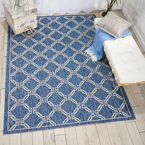 Nourison Garden Party Denim Indoor Outdoor Area Rug 9 Feet 6 Inches by 13 Feet, 9 6 X13