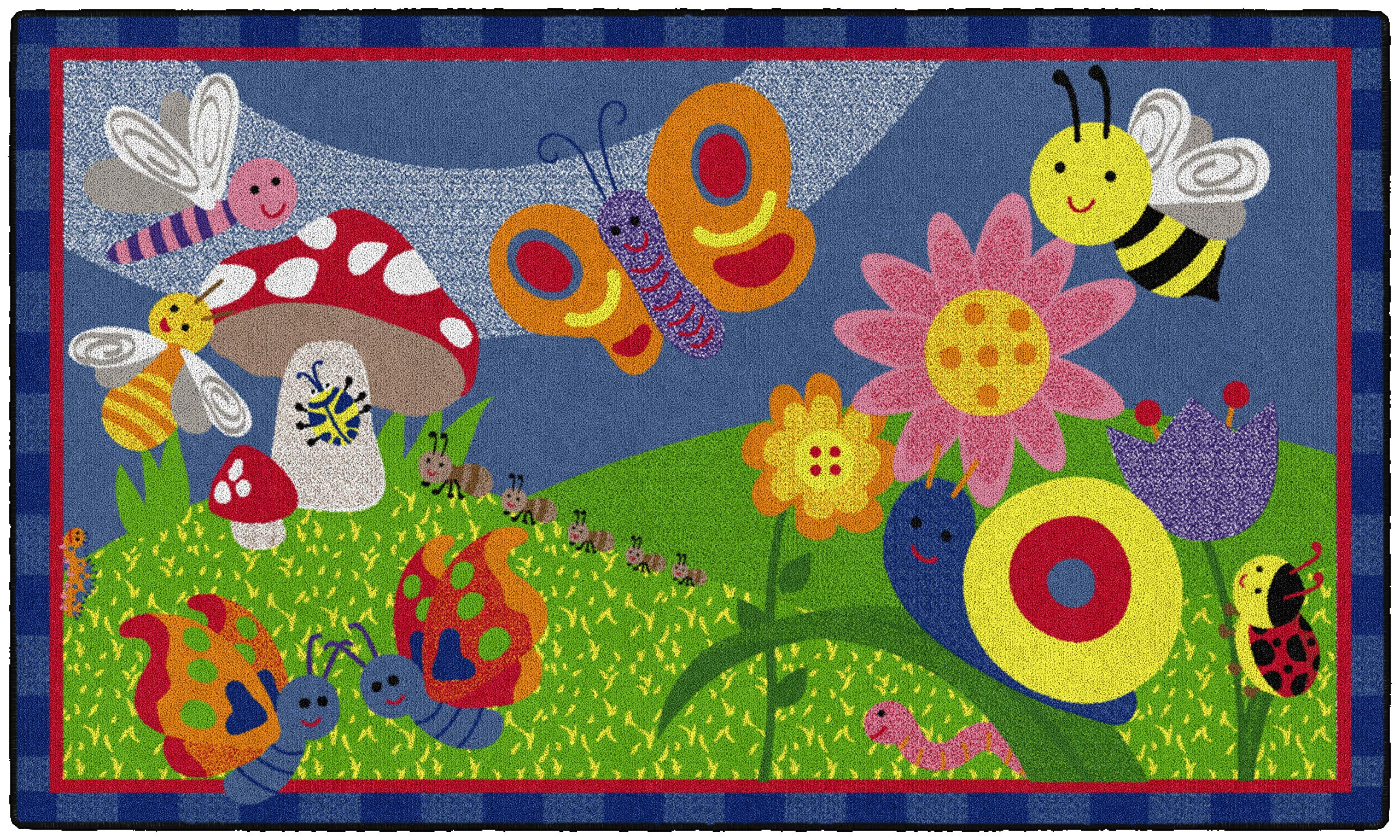 Flagship Carpets CE419-12W Cutie Bugs, Children's Classroom Nursery Rug, Rectangle, 3'x5'
