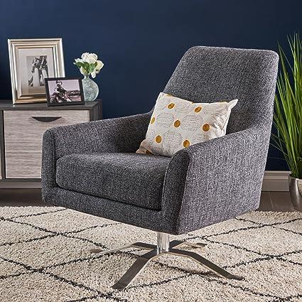 Prime Alice Modern Dark Grey Tweed Fabric Swivel Club Chair Squirreltailoven Fun Painted Chair Ideas Images Squirreltailovenorg