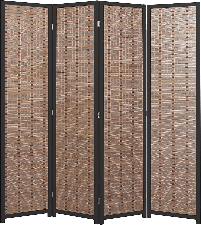 MyGift 3-Panel Rustic Light Green Carved Wood Folding Room Divider