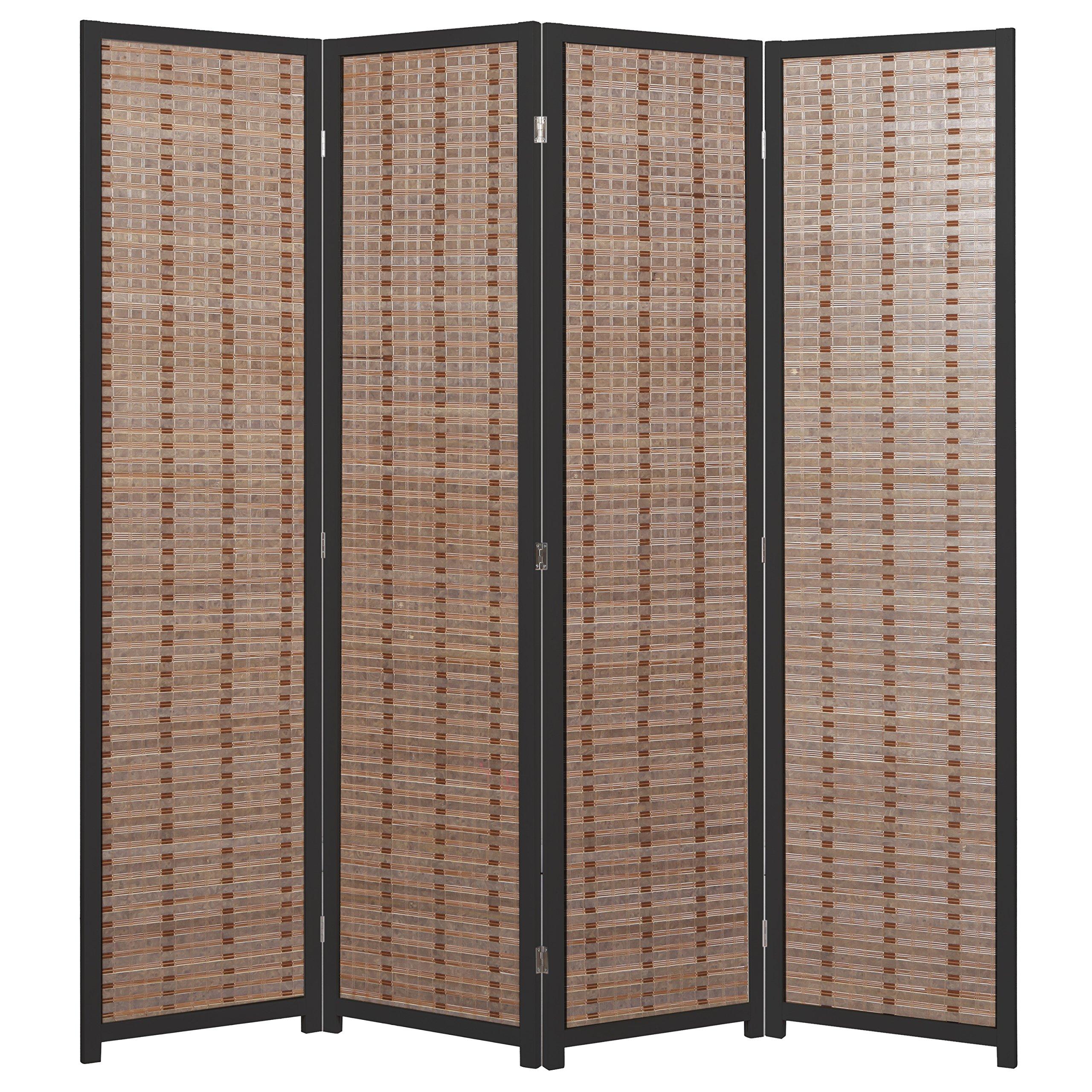 MyGift Decorative Openwork Design 4-Panel Bamboo & Black Wood Framed Folding Screen/Freestanding Room Divider by MyGift