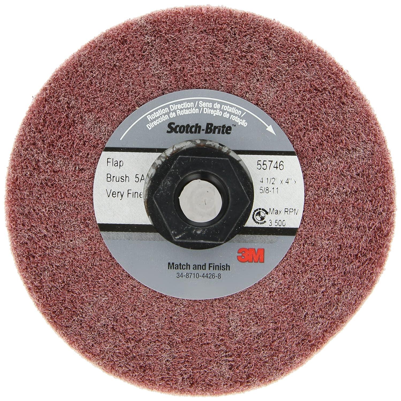 Very Fine Grit 4-1//2 Diameter x 4 Width Scotch-Brite Match and Finish Flap Brush Aluminum Oxide 5//8-11 Thread Pack of 1 TM 4-1//2 Diameter x 4 Width 5//8-11 Thread 3M CF-MF