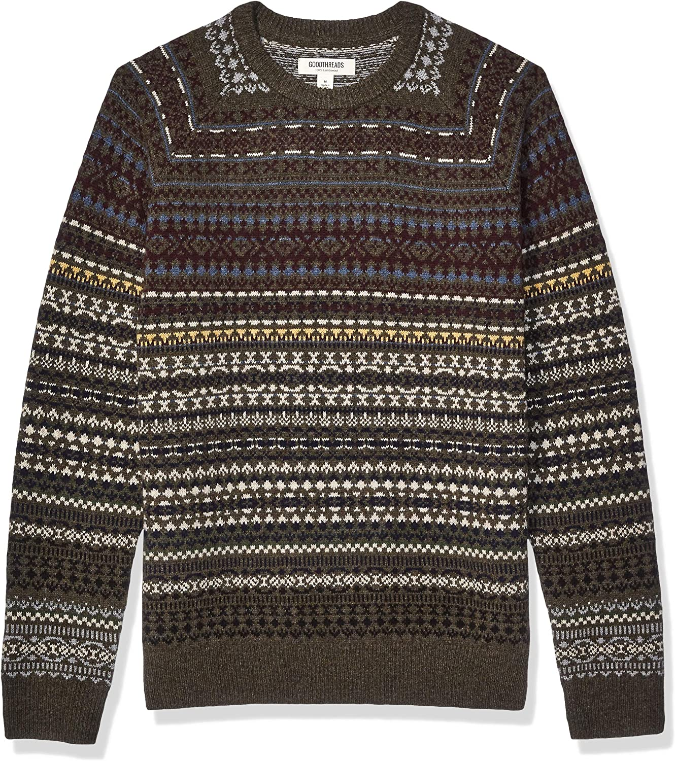 Men's Vintage Sweaters, Retro Jumpers 1920s to 1980s Amazon Brand - Goodthreads Mens  Lambswool Crewneck Sweater $50.00 AT vintagedancer.com
