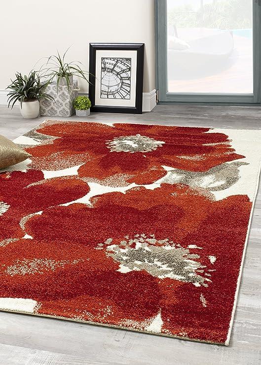 Amazon Com Alpine Rug Co Cabana Red Flower Rug 5 3 X 7 7 Furniture Decor
