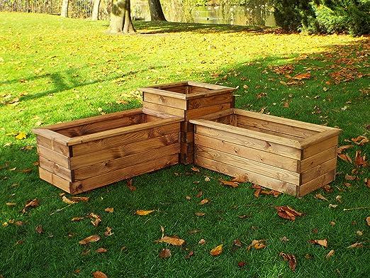 Grandes macetas para al aire libre – jardín macetas – macetero, color de madera maceta.: Amazon.es: Jardín