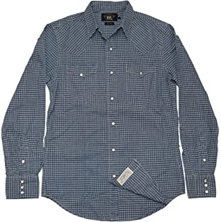abfadfc4614 Polo Ralph Lauren Double RL RRL Mens Western Pearl Snap Shirt Navy Blue  Check