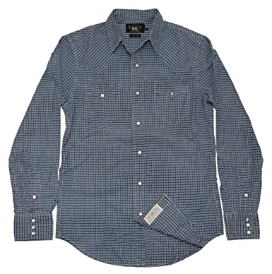 e069d868 Polo Ralph Lauren Double RL RRL Mens Western Pearl Snap Shirt Navy Blue  Check (Small