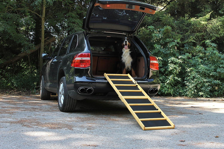Easy-Hopper Hunderampe / Hundetreppe / Einstiegshilfe Extra Breit Komfort imprägniert mit Feinriefengummimatte