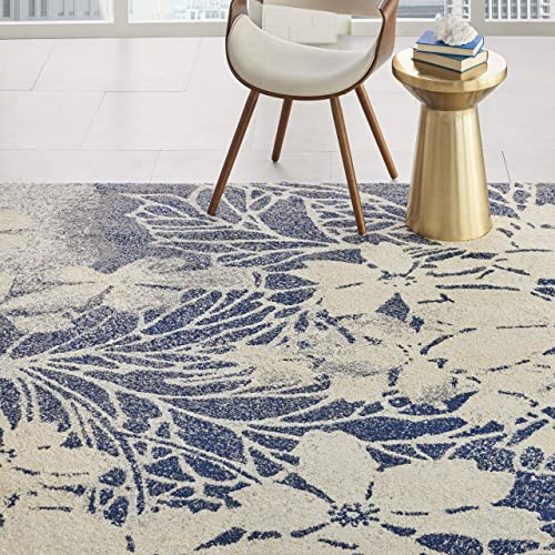Nourison TRA08 Tranquil Floral Contemporary Beige Navy Area Rug 8 X 10