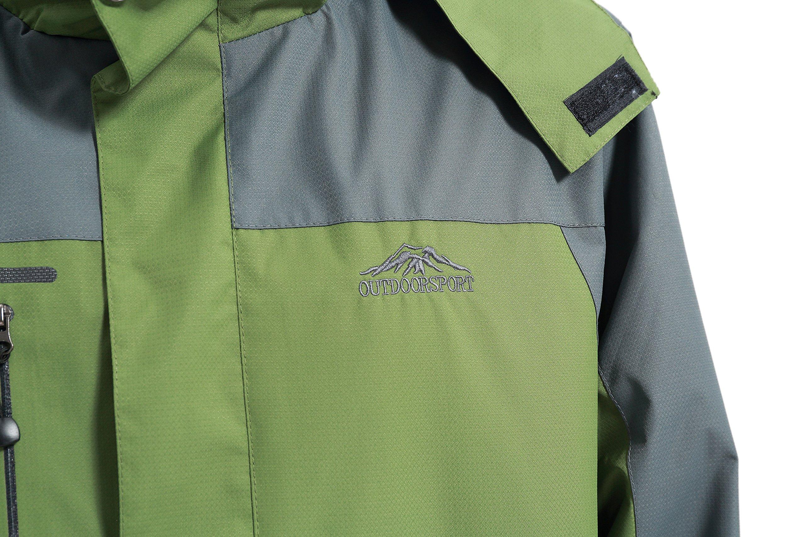 Diamond Candy men Sportswear Hooded Softshell Outdoor Raincoat Waterproof Jacket  Green Medium