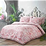 New Moroccan Paisley Peach Reversible Duvet Quilt Cover Set + PillowCases (Double) By Pieridae