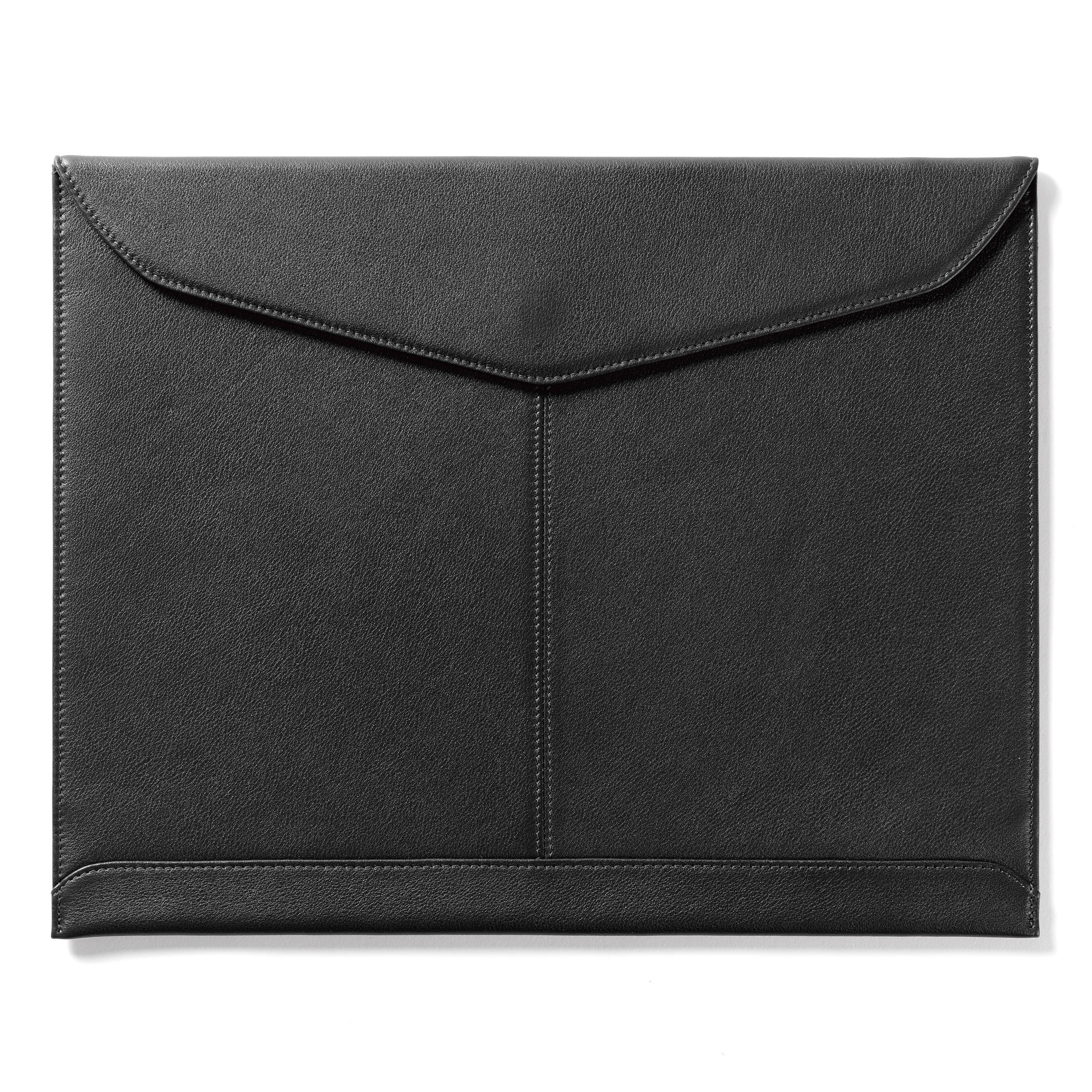 Leatherology Document Envelope with Magnetic Closure - Full Grain Leather - Black Onyx (black)