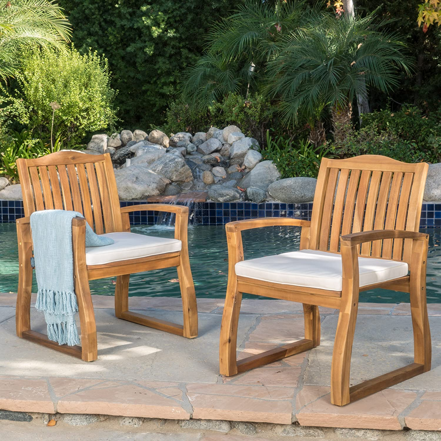Amazon com christopher knight home tampa acacia wood outdoor dining chairs set of 2 perfect for patio with teak finish garden outdoor