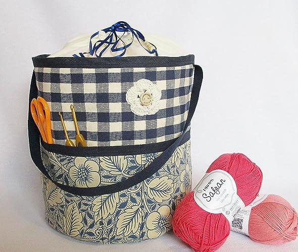 Handmade Drawstring Knitting Bag Crochet Project Bag Tote