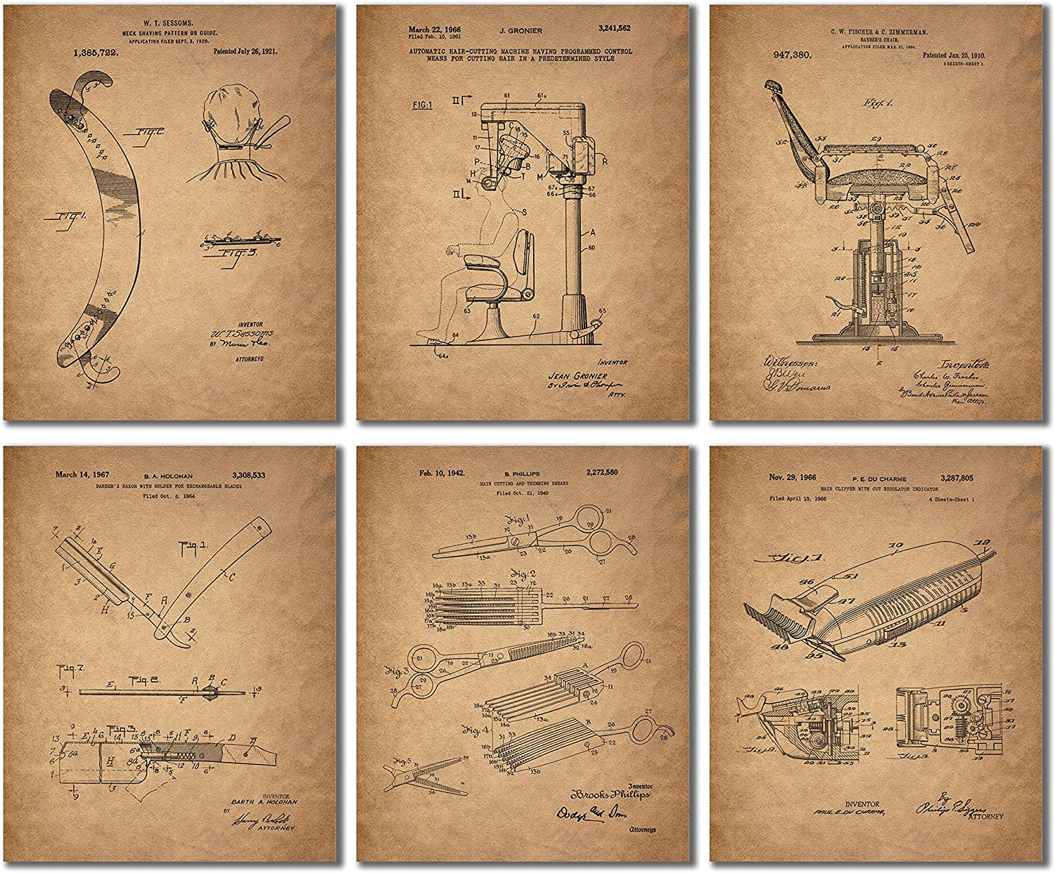 Barber Patent Wall Art Prints - Set of 6 (8 inches by 10 inches) Vintage Replica Photos
