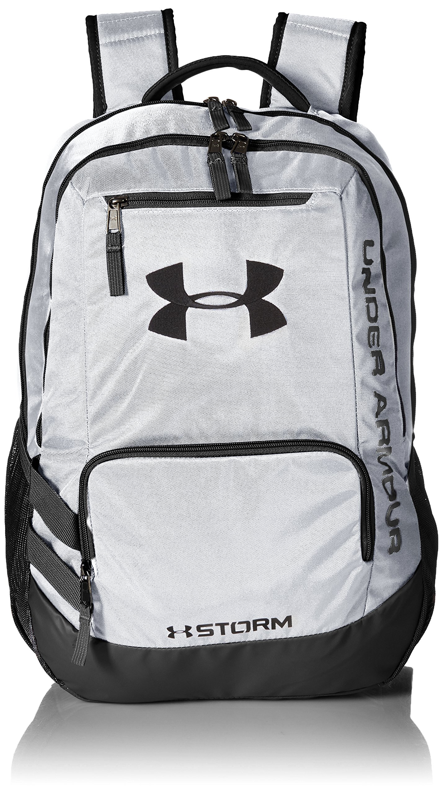 Under Armour Unisex Team Hustle Backpack, White (100)/Black, One Size by Under Armour