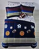 MVP Sports Boys Baseball, Basketball, Football Twin Comforter Set (5 Piece Bed In A Bag)