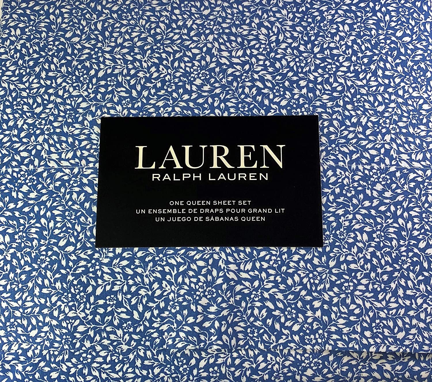 Lauren Queen Size Small Floral Print Sheet Set Blue and White 100% Cotton
