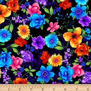 Timeless Treasures Night Bloom Small Floral Black Fabric by The Yard