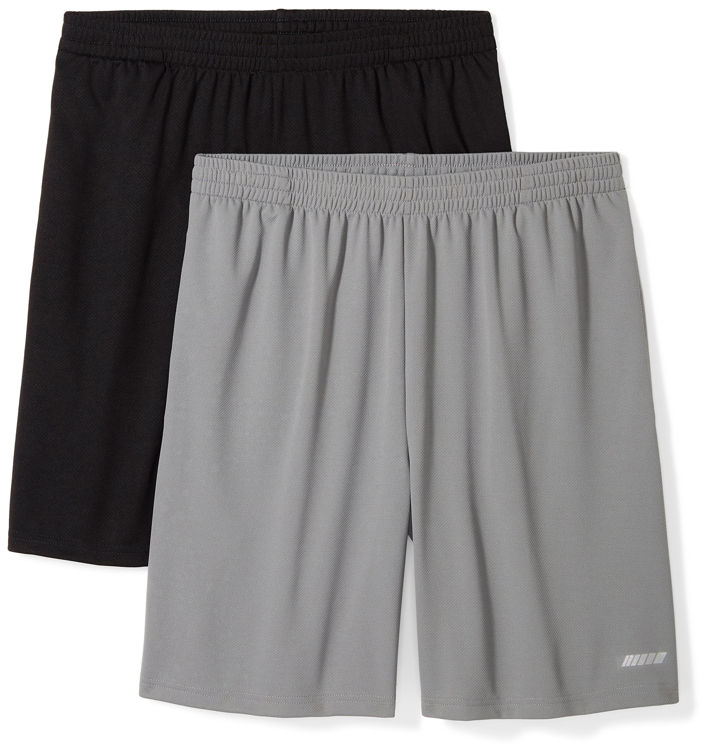 Amazon Essentials Men's 2-Pack Loose-Fit Performance Shorts, Black/Medium Grey, Medium by Amazon Essentials