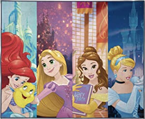 Disney Princess Dreamers Kids Room Rug - Large Area Rug Measures 4 x 5 Feet - Features Ariel, Belle, Cinderella, Rapunzel (Offical Disney Product)