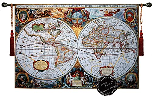 Fabric Bureau Beautiful World Map Antique III 65 x46 Large Fine Tapestry Jacquard Woven Wall Hanging Art Decor