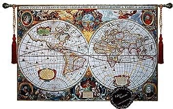 Amazoncom Beautiful World Map Antique III X Large Fine - Large world map antique
