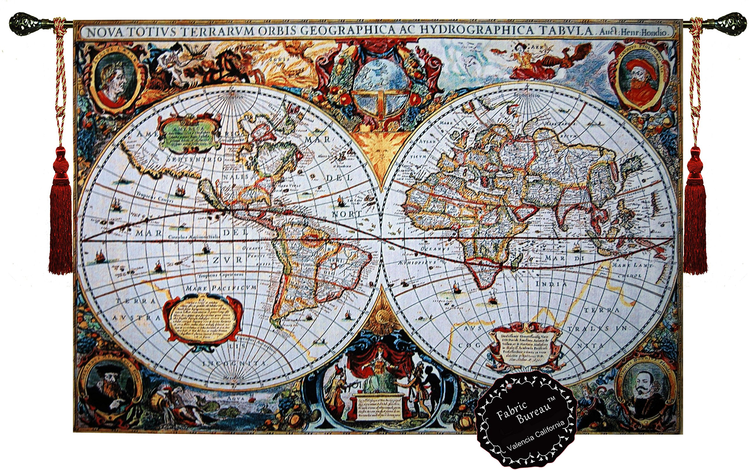Beautiful World Map Antique III 65''x46'' Large Fine Tapestry Jacquard Woven Wall Hanging Art Decor by Fabric Bureau