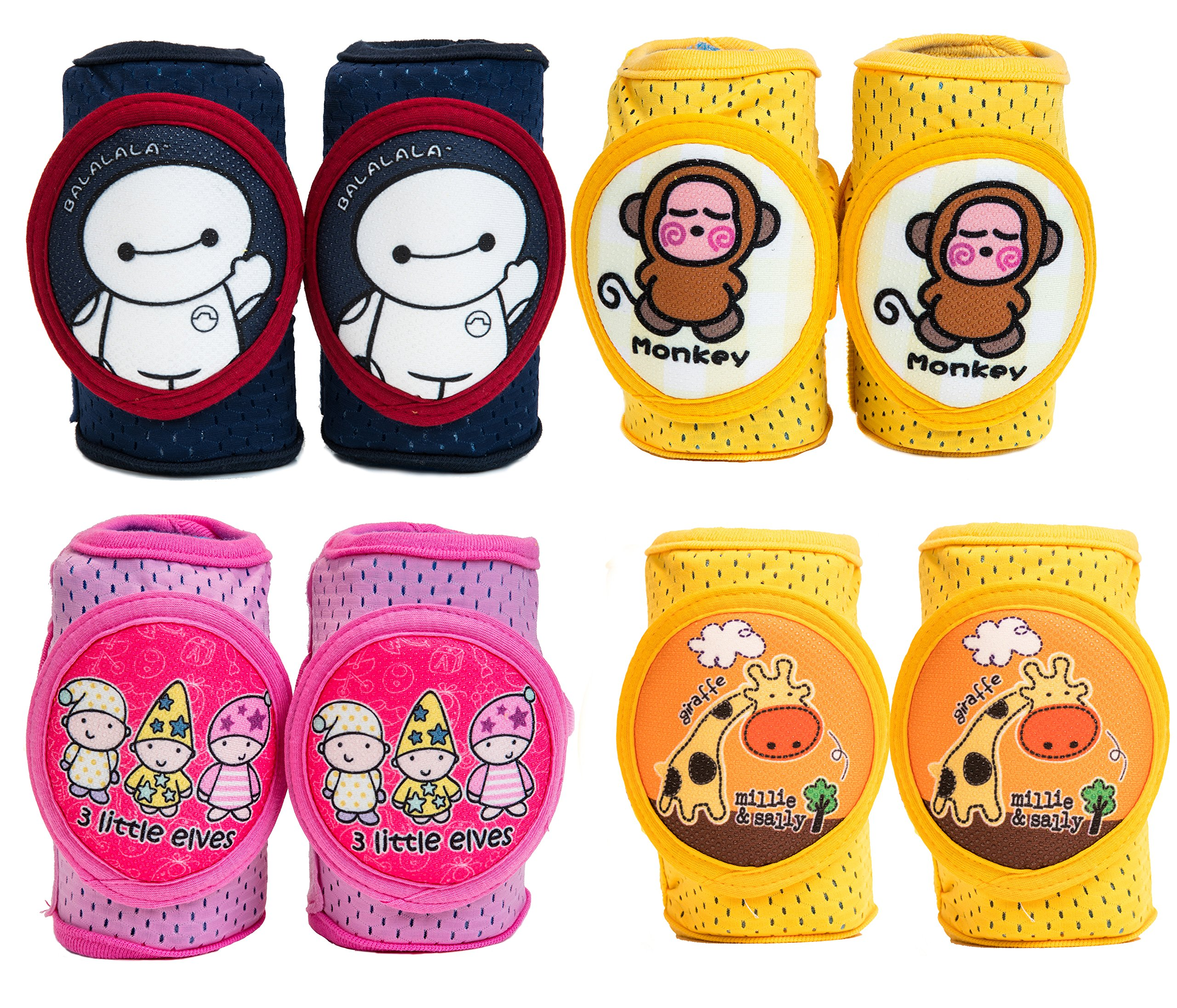 Baby Knee Pads Anti-Slip Walking Kneepads Adjustable Hook & Loop Strap Unisex For Boys Girls Infant Toddler Knee & Elbow Pads Memory Foam Pad Cushion Breathable Mesh Fabric Knee Pads For Babies