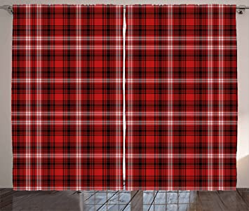 Red Plaid Curtains By Ambesonne Quilt Squares Rectangles Flannel Pattern Geometric Inspirations Abstract Living