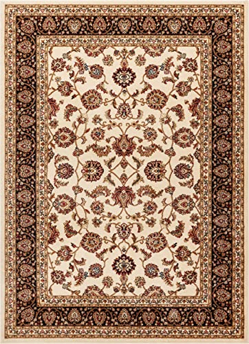 Noble Sarouk Ivory Persian Floral Oriental Formal Traditional Area Rug 8×10 8×11 7 10 x 9 10 Easy Clean Stain Fade Resistant Shed Free Modern Contemporary Traditional Soft Living Dining Room Rug