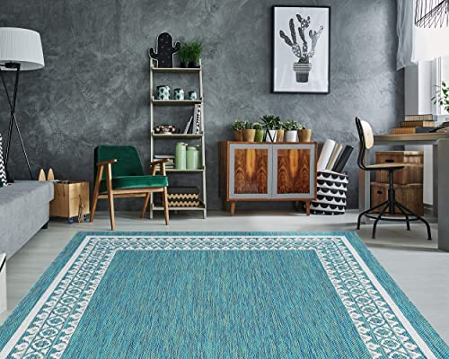 PRIYATE Florida Collection Border Design Indoor Outdoor Area Rug Non-Shedding, Anti Slip, Water Repellent, Floor Carpet for Bedroom, Living Room, Dining Room and More Ocean Green 7 10 X 10