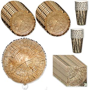 """Havercamp's Cut Timber-Wood Slice Party for 16 Guests: Includes 16 ea. 7"""" Plates, Napkins & Cups and an 18"""" Mylar Balloon"""