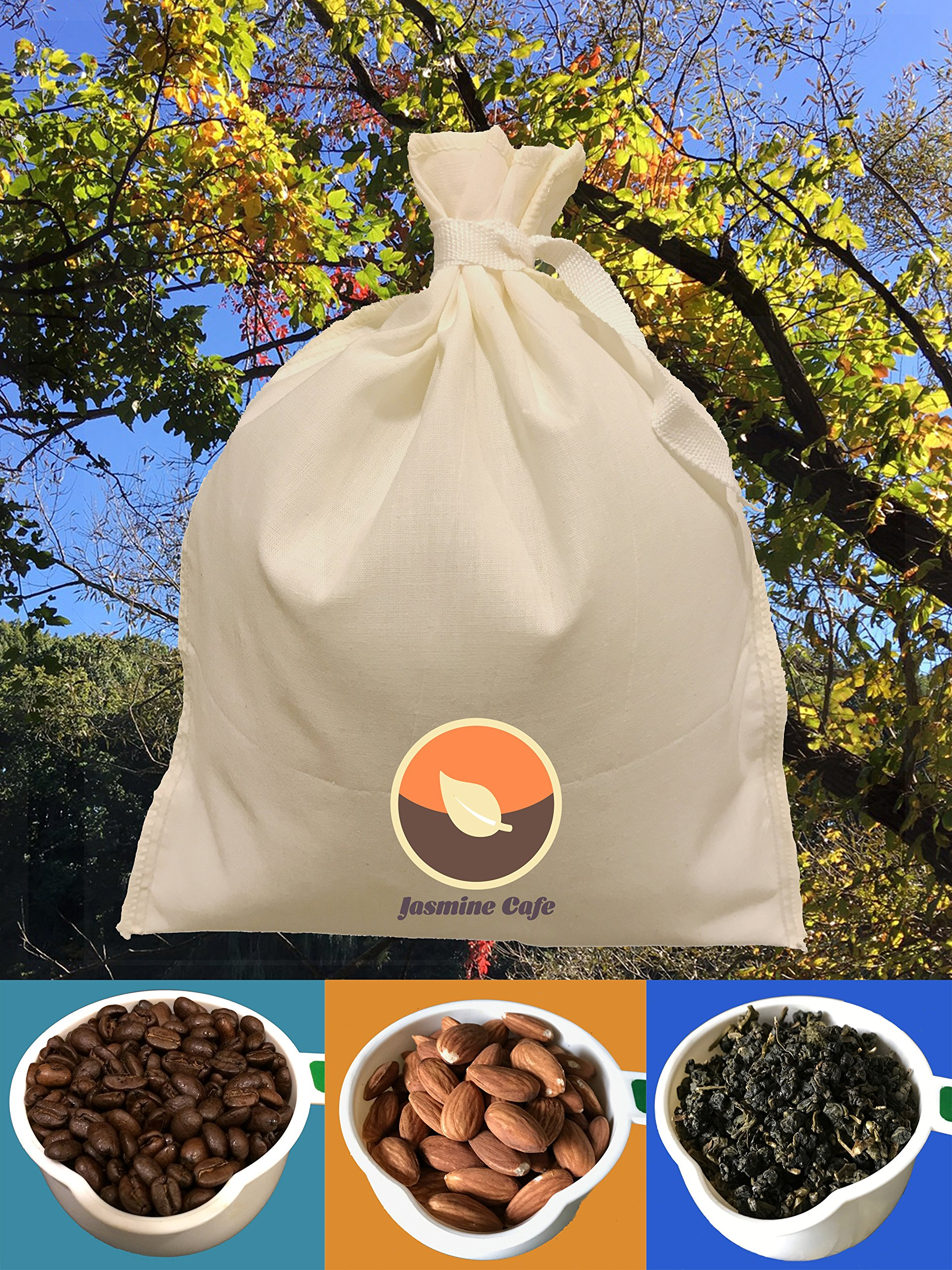 3 Pack (Large 11''x8'') Organic Cotton Nut Milk Bag & Cold Brew Coffee - Great Strainer for Coffee Tea & Nut Milk - Reusable & Eco-Friendly - 100% Safe to Use - Good for Commercial and Household by Jasmine Café (Image #3)