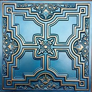 PAINTSDECOR Embossed Ceiling Tiles Painted Cyan Gold Decor Ceiling Panels PL16 10pcs/lot