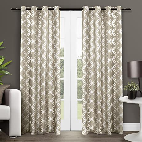 exclusive home curtains modo grommet top window curtain panel pair natural 54x84