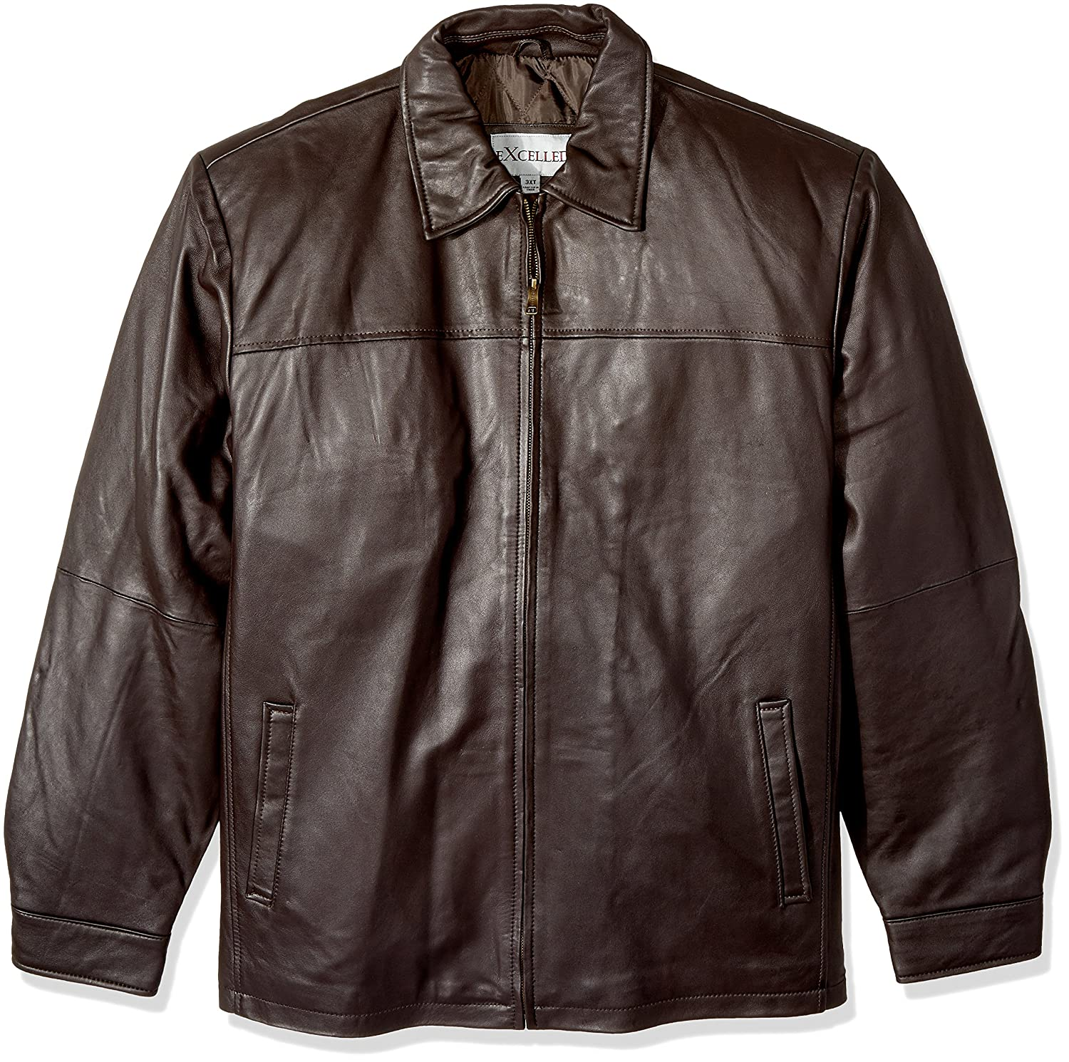 Excelled Men's Big and Tall New Zealand Lambskin Leather Classic Open Bottom Jacket Excelled Apparel M2000