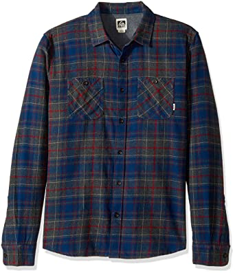 Reef Men's Cold Dip 10 Long Sleeve Plaid Flannel Shirt, Charcoal Heather,  Small