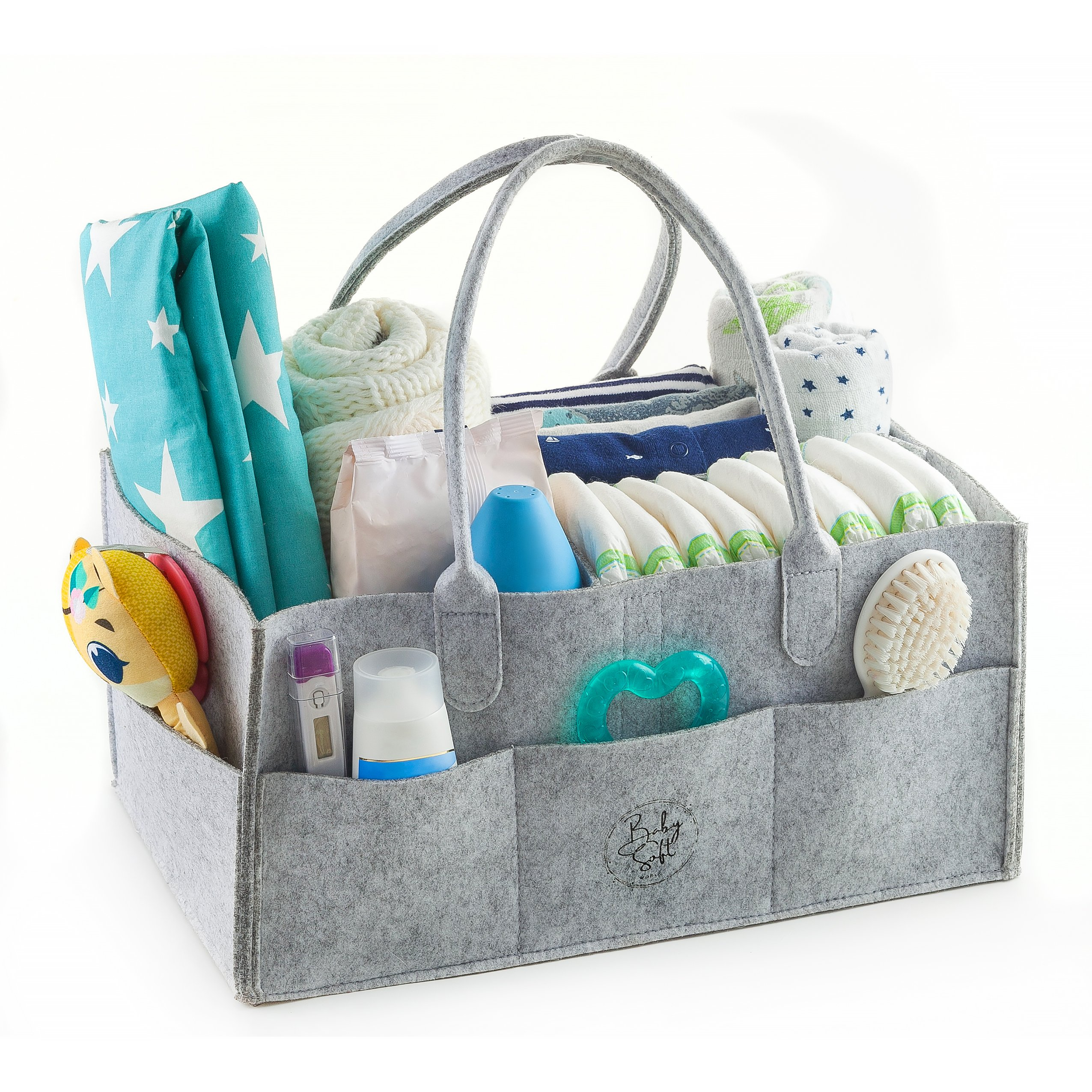 Baby Diaper Caddy Organizer, Large Baby Nursery Basket For Diapers, Wipes, Cloths And More, Storage Bag For Car with Bonus Changing Pad, Perfect Baby Shower Gift, 15 x 10 x 7 Inches, Gray by Baby Soft World
