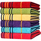 Akin Towel Multicolor Cotton 550 GSM Hand Towels Set of 6 (Length - 24, Width - 16)