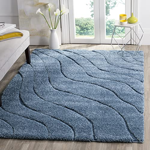 Safavieh Florida Shag Collection SG472-6065 Light Blue and Blue Area Rug 5 3 x 7 6
