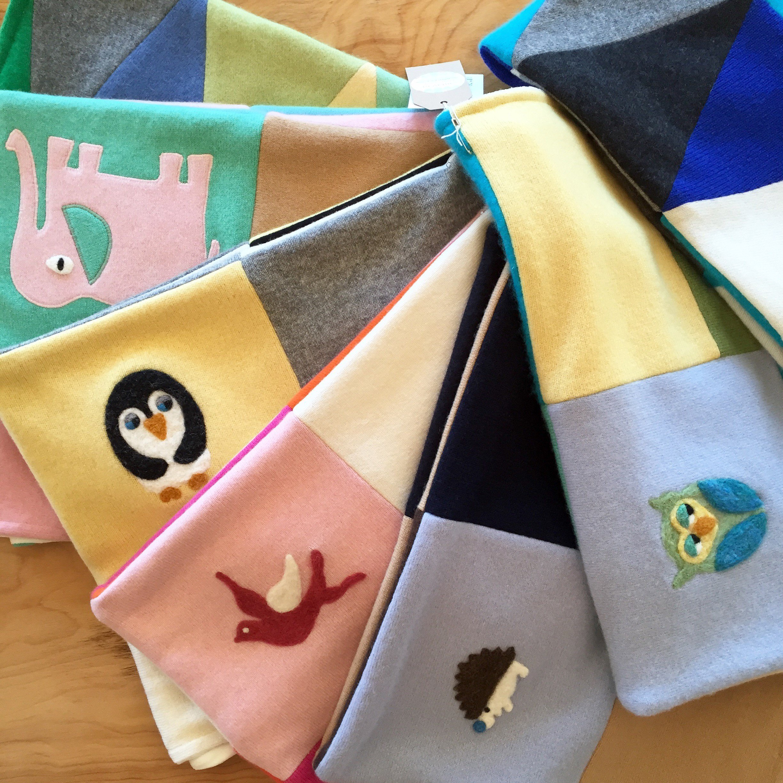 100% Cashmere Baby Blanket Patchwork Quilt - Made to Order Custom Colors and Appliques - Choose Owl Acorns Birds Hedgehog Elephant or Penguin