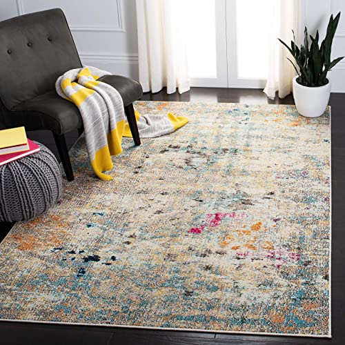 Safavieh Madison Collection MAD425F Boho Abstract Distressed Area Rug, 10 x 14 , Grey Gold