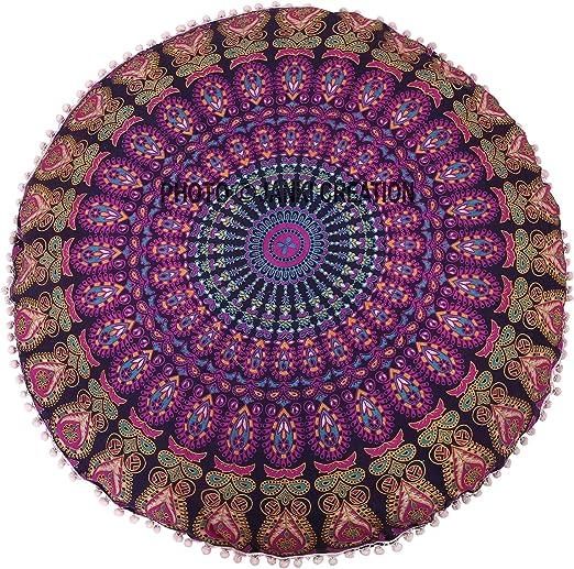 Tapiz redondo de algodón de 32 x 32 cm con diseño de mandala hippie, ideal para decorar el hogar, picnic, playa, picnic, playa, decoración del hogar: Amazon.es: Hogar