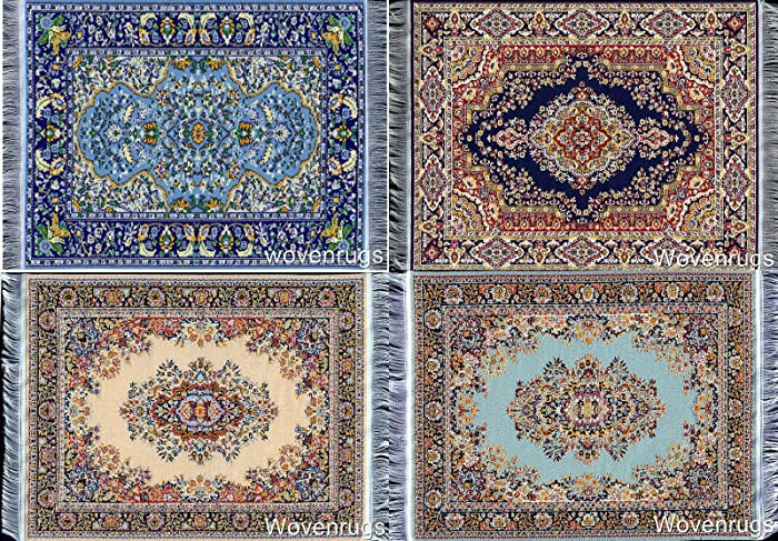 Inusitus Set of Miniature Woven Dollhouse Carpets - Dolls House Toy Rugs - 1/12 Scale Furniture Accessories (Mix-4-4)