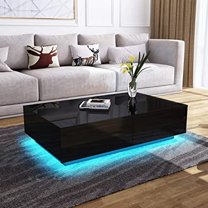 Surprising Modern Rgb Led Light Coffee Tea Table With Storage Drawers Shelvs High Gloss Living Room Furniture Black 4 Drawers 95 60 31Cm Home Remodeling Inspirations Cosmcuboardxyz