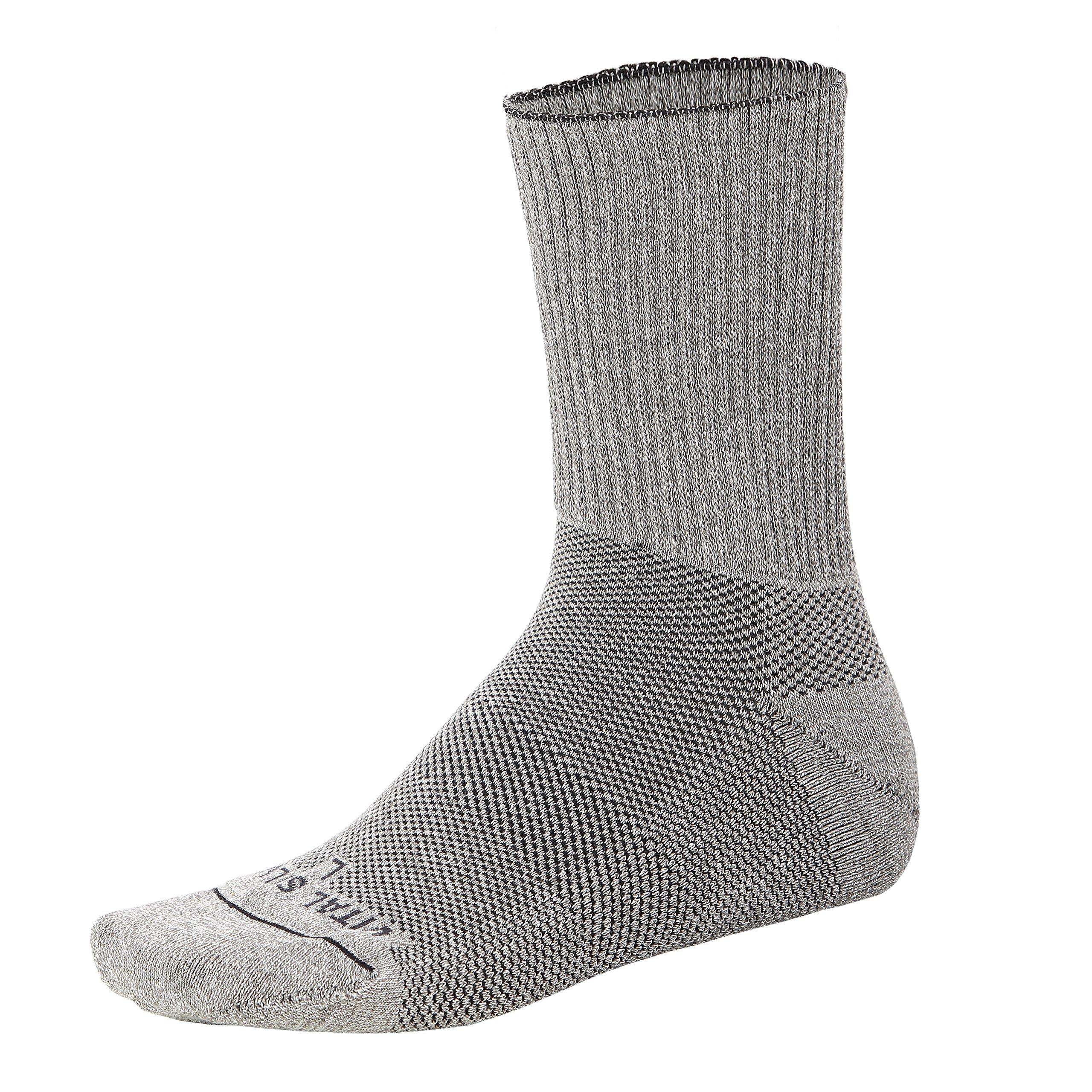 Vital Salveo – Diabetic Socks with Germanium and Bamboo Charcoal Soft Cushion Socks, Non-Binding Top, Seamless Toe, Circulation Socks- Crew (1 pair) L