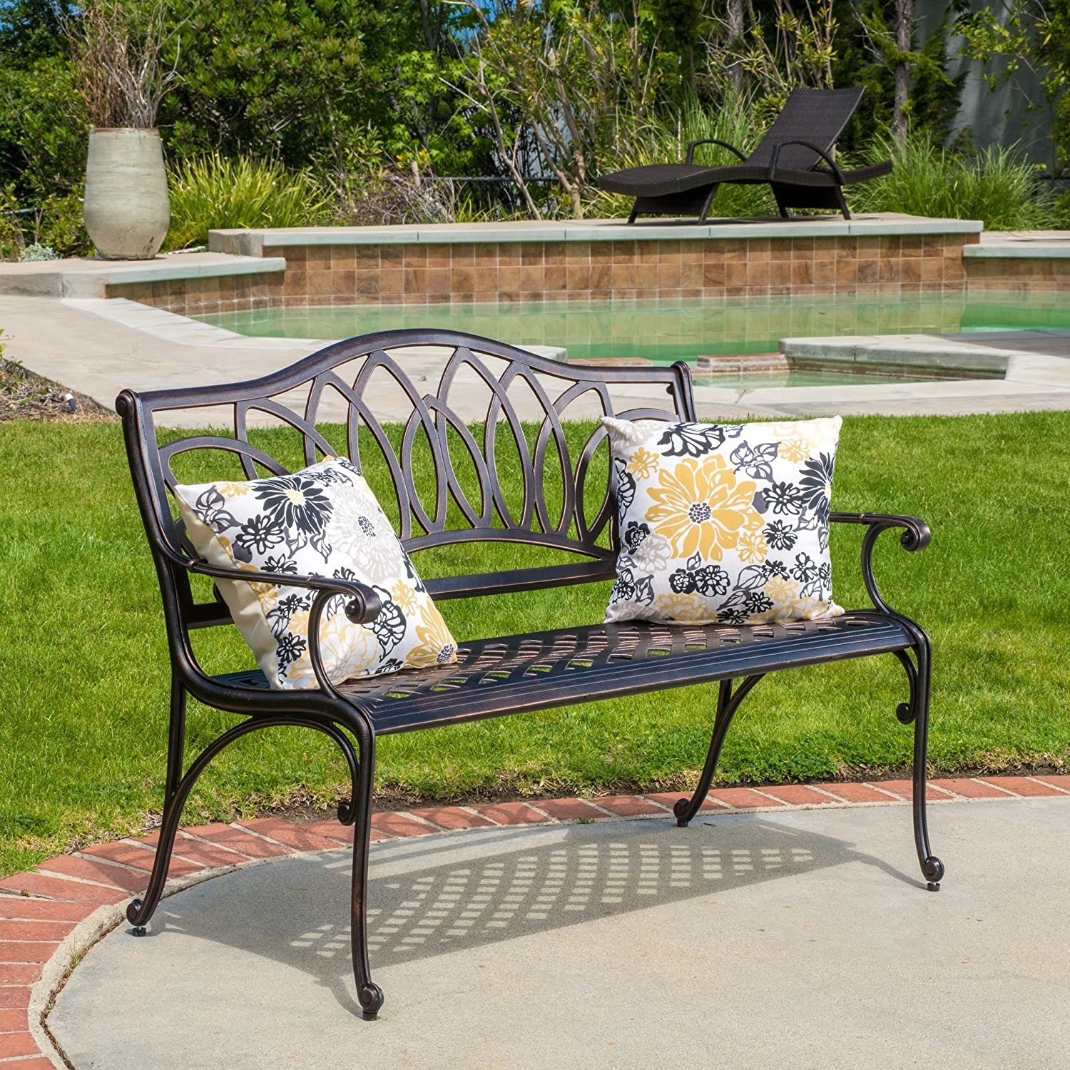 Great Deal Furniture Velda Outdoor Cast Aluminum Bench