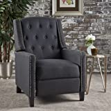 Ingrid Recliner Chair | Perfect for Living Room, Office | Nail Head Accent | Upholstered in Dark Charcoal Fabric